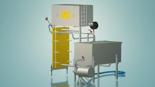 The milk pasteurizer for cheese production 1 t/h UZM-1.0 P